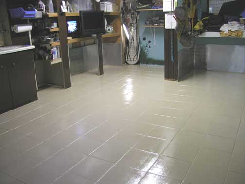 Room Floor Epoxy Painted The Tile Floor To Keep Cleaner Repainted The